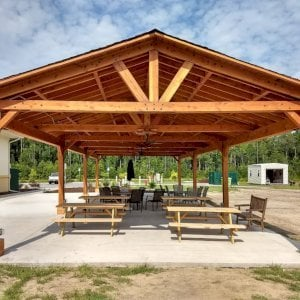 Del Norte Pavilion (Options: 60' L x 24' W, Douglas-fir, 4-Post Kit for Gale-Wind, 3 Ceiling Fan Bases, 8 Electrical Wiring Trim Kit, No Post Decorative Trims, Transparent Premium Sealant). Photo Courtesy of A. Powell of Yulee, Florida.