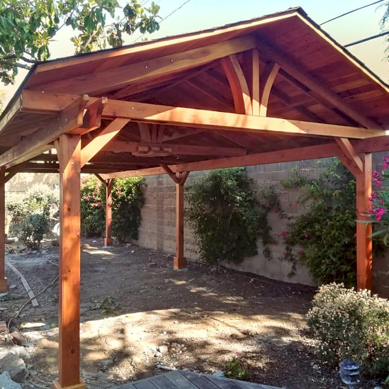 Del Norte Pavilion (Options: 35' L x 15' W, California Redwood, 6-Post Kit for Gale-Wind, 2 Ceiling Fan Bases, 2 Electrical Wiring Trim Kits, No Post Decorative Trims, Transparent Premium Sealant). Photo Courtesy of D. Loyola of San Jose, California.