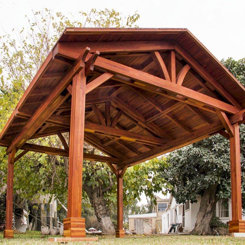 Del Norte Pavilion (Options: 16' L x 16' W, Mosaic Eco-Wood, 4-Post Kit for Gale-Wind, No Ceiling Fan Base, No Electrical Wiring Trim Kit, No Post Decorative Trims, Transparent Premium Sealant).
