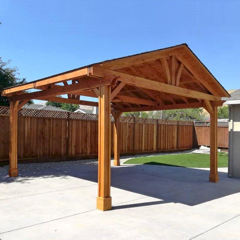 Del Norte Pavilion (Options: 18' L x 18' W, Douglas-fir, 4-Post Kit for Gale-Wind, 1 Ceiling Fan Base, No Electrical Wiring Trim Kit, Vertical Post Decorative Trims, Transparent Premium Sealant). Photo Courtesy of E. Colbert of San Jose, California.