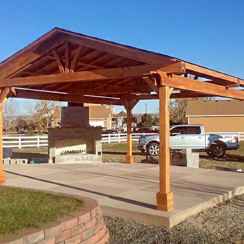 Del Norte Pavilion (Options: 22' L x 18' W, Douglas-fir, 4-Post Kit for Concrete, 1 Ceiling Fan Base, No Electrical Wiring Trim Kit, No Post Decorative Trim, Transparent Premium Sealant). Photo Courtesy of J. McDaniel of Brighton, Colorado.