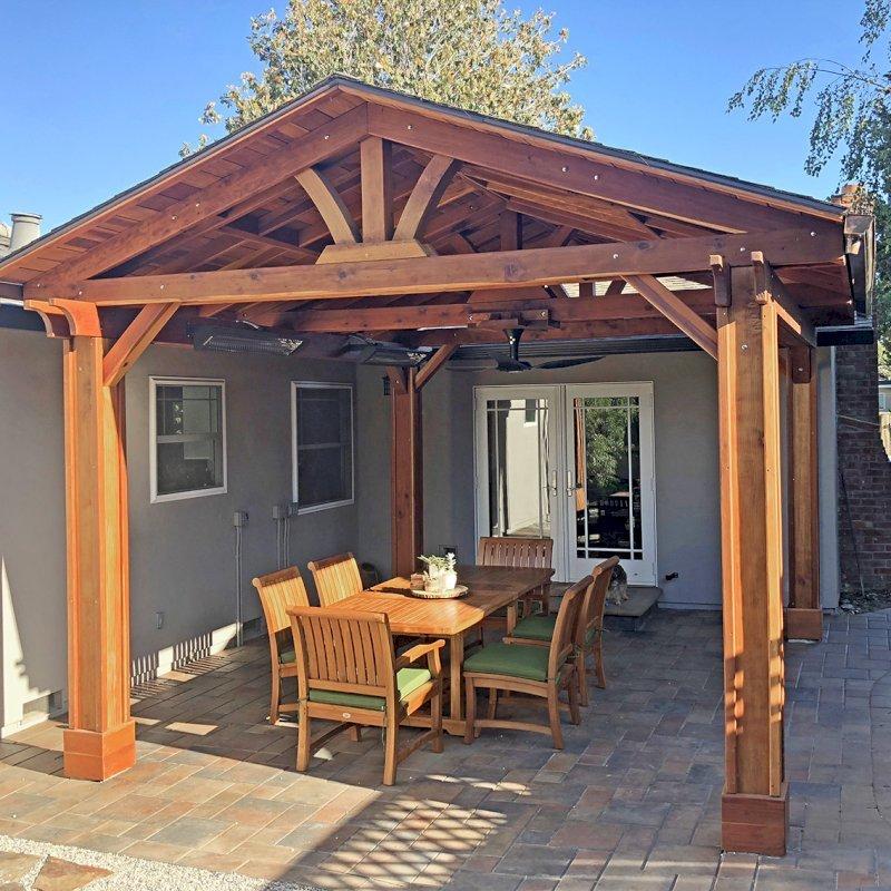 Del Norte Pavilion (Options: 14' L x 16' W, California Redwood, 4-Post Kit for Gale-Wind, 1 Ceiling Fan Base, 1 Electrical Wiring Trim Kit, Vertical Post Decorative Trims, Transparent Premium Sealant). Photo Courtesy of Louis DesPrez of San Jose, CA.
