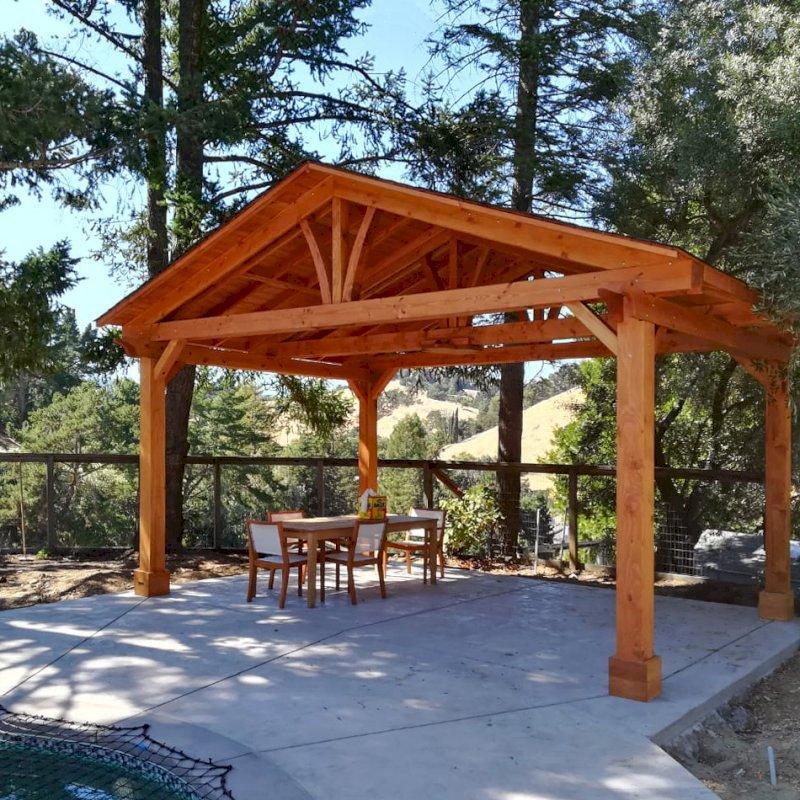 Del Norte Pavilion (Options: 14' L x 20' W, Douglas-fir, 4-Post Kit for Gale-Wind, 1 Ceiling Fan Base, 1 Electrical Wiring Trim Kit, No Post Decorative Trims, Transparent Premium Sealant). Photo Courtesy of R. Jones of Walnut Creek, California.