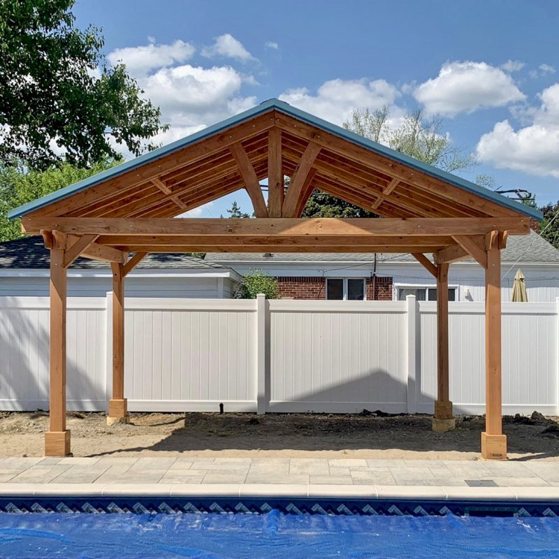 Del Norte Pavilion (Options: 12' L x 18' W, Douglas-fir, 4-Post Kit for Gale-Wind, With 2 Ceiling Fan Base, Electrical Wiring Trim Kit for 2 Posts, Transparent Premium Sealant). Metal Roof Installed by Customer. Photo courtesy of S. Bono of Royal Oak, Michigan.