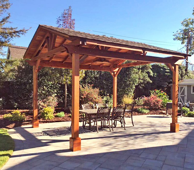 Del Norte Pavilion (Options: 16' L x 14' W, California Redwood, 4-Post Kit for Concrete, With 1 Ceiling Fan Base, Electrical Wiring Trim Kit for 1 Post, No Post Decorative Trim, Transparent Premium Sealant). Photo Courtesy of D. Stager of San Jose, CA.