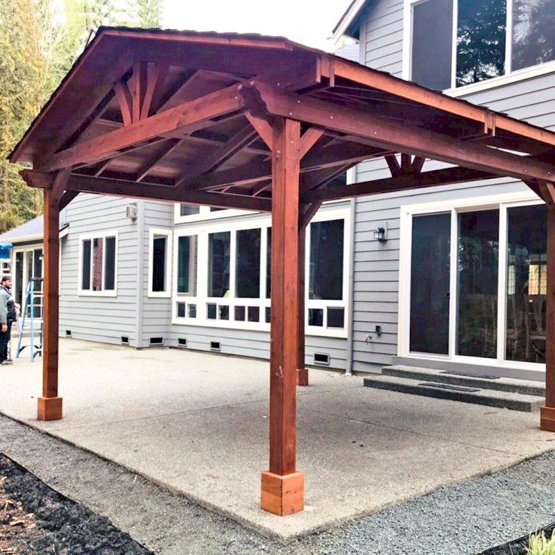 Del Norte Pavilion (Options: 16' L x 16' W, Mature Redwood, 4-Post Kit for Concrete, No Ceiling Fan Bases, No Electrical Wiring Trim Kit, No Post Decorative Trim, Transparent Premium Sealant). Photo Courtesy of D. Adams of Bellevue, WA.