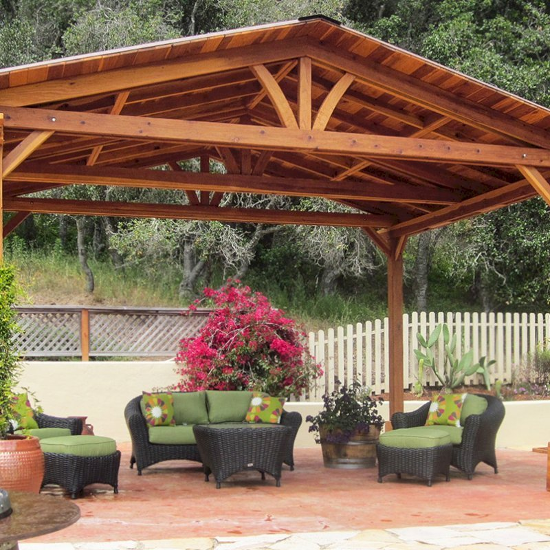 Del Norte Pavilion (Options: 14' L x 18' W, California Redwood, Unattached, 4-Post Kit for Hurricane, No Electrical Wiring Trim, 9.5' Posts, No Ceiling Fan Base, No Privacy Panels, No Curtain Rods, Transparent Premium Sealant). Photo Courtesy of Frank Giuliani of Watsonville, CA.