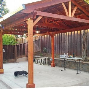 Del Norte Pavilion (Options: 25' L x 15' W, Redwood, 6-Post Kit for Concrete, 2 Ceiling Fan Bases, Transparent Premium Sealant). Photo Courtesy of J. Gil of San Jose, CA.