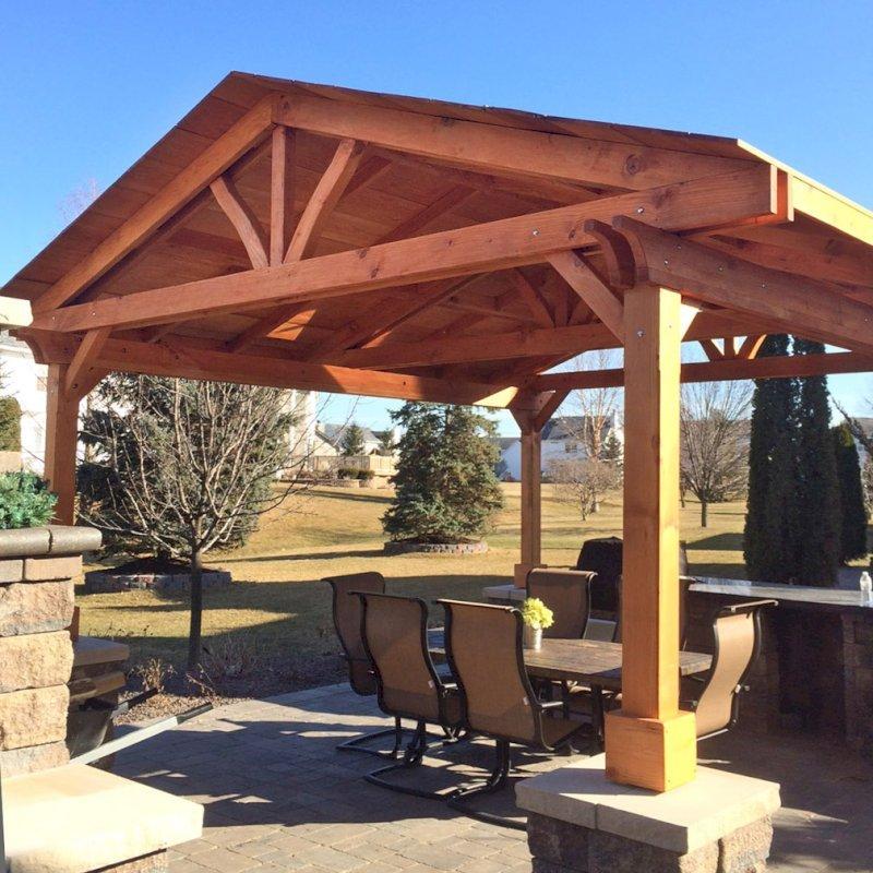 """Del Norte Pavilion (Options: 14' L x 14' W, Douglas-fir, Posts Sitting Atop 33"""" H Columns, Transparent Premium Sealant). Photo Courtesy of Michael L. of S. Lyon, Michigan."""