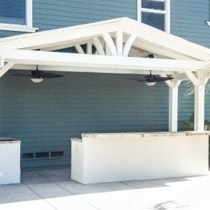 "Del Norte Outdoor Kitchen Pavilion (Options: 8'-8 1/4"" L x 19'-11 1/4"" W, Redwood, 4 Post Anchor Kit for Stone, Brick or Concrete, 2 Post Electrical Wiring Trim, 9 ft Post Height, No Privacy Panels, No Curtain Rods, Custom Color)."