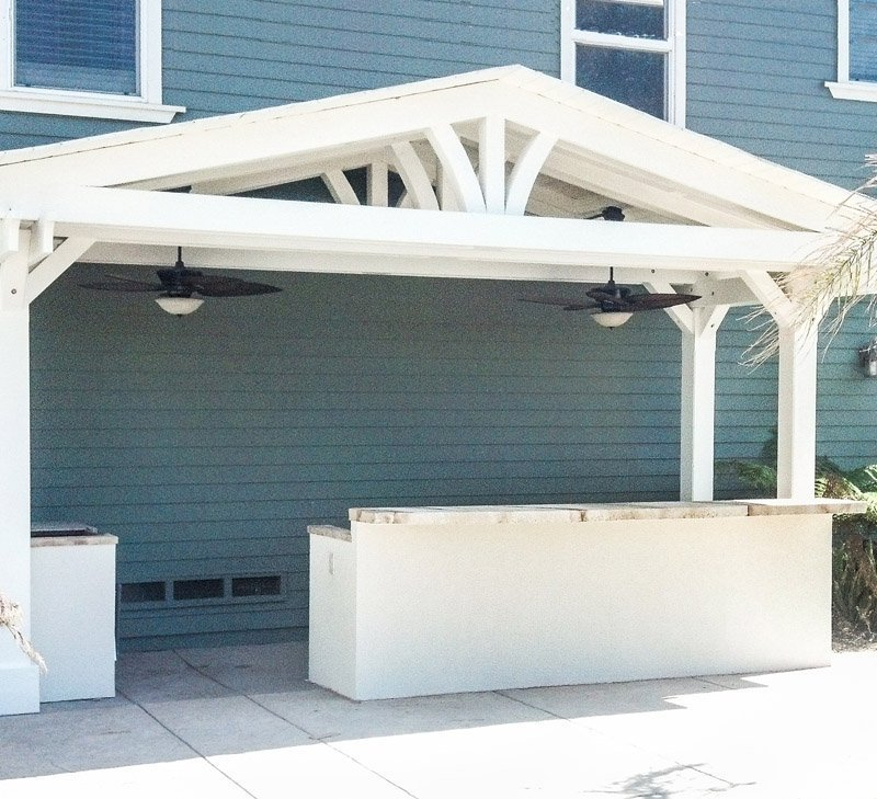 "Del Norte Outdoor Kitchen Pavilion (Options: 8'-8 1/4"" L x 19'-11 1/4"" W, California Redwood, 4 Post Anchor Kit for Stone, Brick or Concrete, 2 Post Electrical Wiring Trim, 9 ft Post Height, No Privacy Panels, No Curtain Rods, Custom Color)."