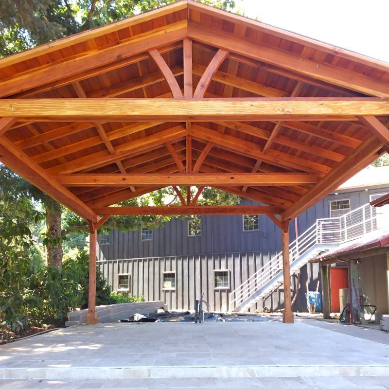 Del Norte Pavilion (Options: 20' L x 18' W, California Redwood, 4-Post Kit for Gale-Wind, No Ceiling Fan Base, No Electrical Wiring Trim Kit, Transparent Premium Sealant). Photo Courtesy of N. Littleton of Sherwood, OR.