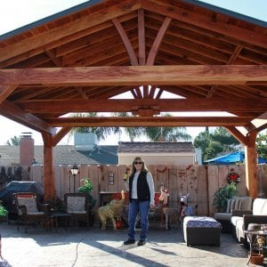 "Del Norte Pavilion (Options: 16' L x 20' W, Redwood, 4-Post Kit for Gale-Wind, With 1 Ceiling Fan Base, Electrical Wiring Trim Kit for 2 Posts, No Post Decorative Trim, Transparent Premium Sealant, 9 1/4"" x 9 1/4"" Posts & 1 1/2"" x 9 1/4"" Supports and Rafters by Custom Request). Photo Courtesy of P. Vejar of Merced, CA"