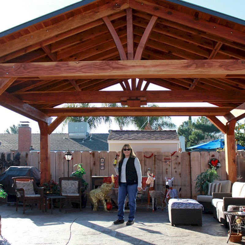 "Del Norte Pavilion (Options: 16' L x 20' W, California Redwood, 4-Post Kit for Gale-Wind, With 1 Ceiling Fan Base, Electrical Wiring Trim Kit for 2 Posts, No Post Decorative Trim, Transparent Premium Sealant, 9 1/4"" x 9 1/4"" Posts & 1 1/2"" x 9 1/4"" Supports and Rafters by Custom Request). Photo Courtesy of P. Vejar of Merced, CA"