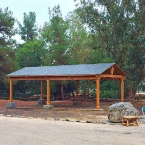 Del Norte Pavilion (Options: 40' L x 20' W, Douglas-fir, 6-Post Kit for Gale-Wind, With 2 Ceiling Fan Base, Electrical Wiring Trim Kit for 1 Post, Transparent Premium Sealant). Installed in Jewish Big Brothers and Sisters Campground in Glendale, CA.