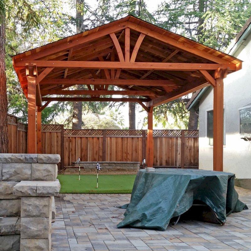 Del Norte Pavilion (Options: 26' L x 18' W, California Redwood, 4-Post Kit for Gale-Wind, 1 Ceiling Fan Base, Transparent Premium Sealant). Photo Courtesy of Scott Carper of San Jose, CA.