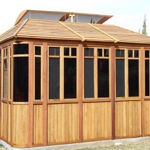 "DIY Wood Gazebo (14' L, 12' W, Mature Redwood, Sliding Windows, 4' x 6' Skylight, 24"" H Siding Below Windows, Vertical Siding, Japanese Doors, No Flooring, Transparent Premium Sealant). Custom detail: Roof overhang was minimized per customer request."