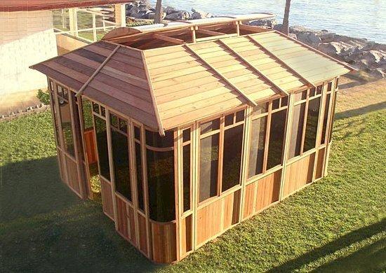"DIY Wood Gazebo (14' L, 12' W, California Redwood, Sliding Windows, 4' x 6' Skylight, 24"" H Siding Below Windows, Vertical Siding, Japanese Doors, No Flooring, Transparent Premium Sealant). Custom detail: Roof overhang was minimized per customer request."