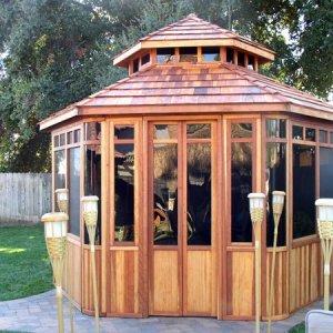 "Don's Hexagonal Gazebos (Options: 12' Diameter, Redwood, 24"" Siding Below Windows, Japanese Doors, No Flooring, Shingle Roof, Transparent Premium Sealant)."