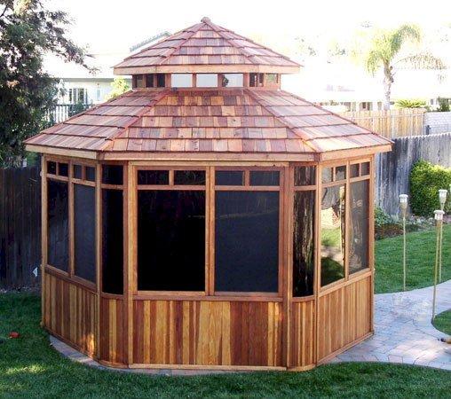 "Don's Hexagonal Gazebos (Options: 12' Diameter, California Redwood, 24"" Siding Below Windows, Japanese Doors, No Flooring, Shingle Roof, Transparent Premium Sealant)."