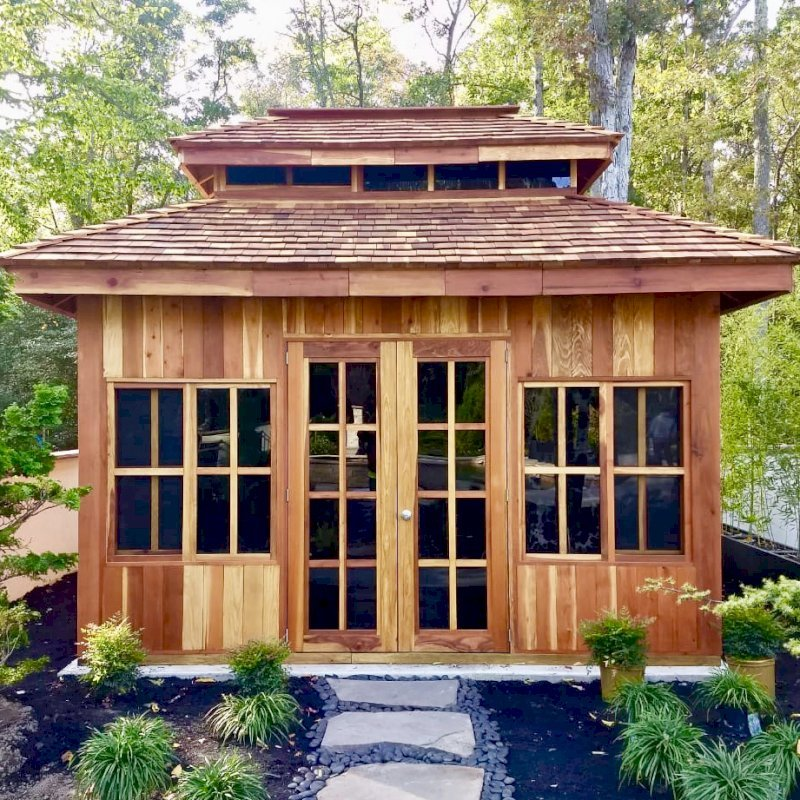 Custom Dream Gazebo (Options: 14' L, 12' W, California Redwood, All Fixed Windows, All Without Skylight, Vertical Siding, French Doors without Screens, Complete Floor, Set of Shingles, Transparent Premium Sealant). Photo Courtesy of M. Trunk of Monroeville, New Jersey.