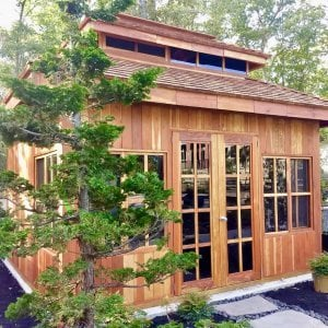 Custom Dream Gazebo (Options: 14' L, 12' W, Redwood, All Fixed Windows, All Without Skylight, Vertical Siding, French Doors without Screens, Complete Floor, Set of Shingles, Transparent Premium Sealant). Photo Courtesy of M. Trunk of Monroeville, New Jersey.