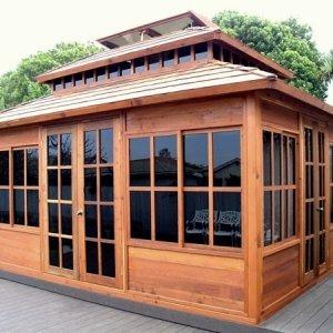 "Dream Gazebo (Options: 16' L, 12' W, Mature Redwood, All Sliding Windows with Screens, 4' x 6' Skylight, 24"" H Siding Below Windows, Horizontal Siding, French Doors, Complete Floor, Set of Shingles, Transparent Premium Sealant)."