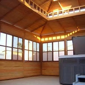 """Dream Gazebo (Options: 16' L x 16' W, Douglas-fir, All Fixed Windows, 4' x 6' Skylight, 24"""" H Siding Below Windows, Horizontal Siding, Standard Roof, Transparent Premium Sealant). Flooring was shipped unfinished so customer can add his desired floor sealant. Hot tub and steps not included."""