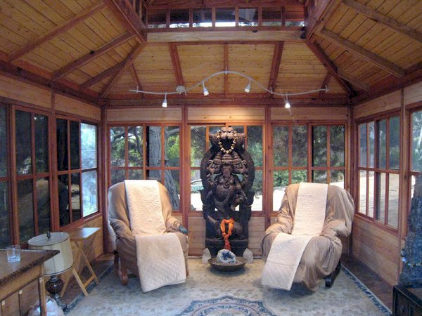 """Dream Gazebo as Meditation Hall (Options: 16' L, 12' W, Mature Redwood, All Sliding Windows with Screens, 4' x 6' Skylight, 24"""" H Siding Below Windows, Horizontal Siding, French Doors, Complete Floor, Set of Shingles, Transparent Premium Sealant). Wiring/lights and furnishings not included."""