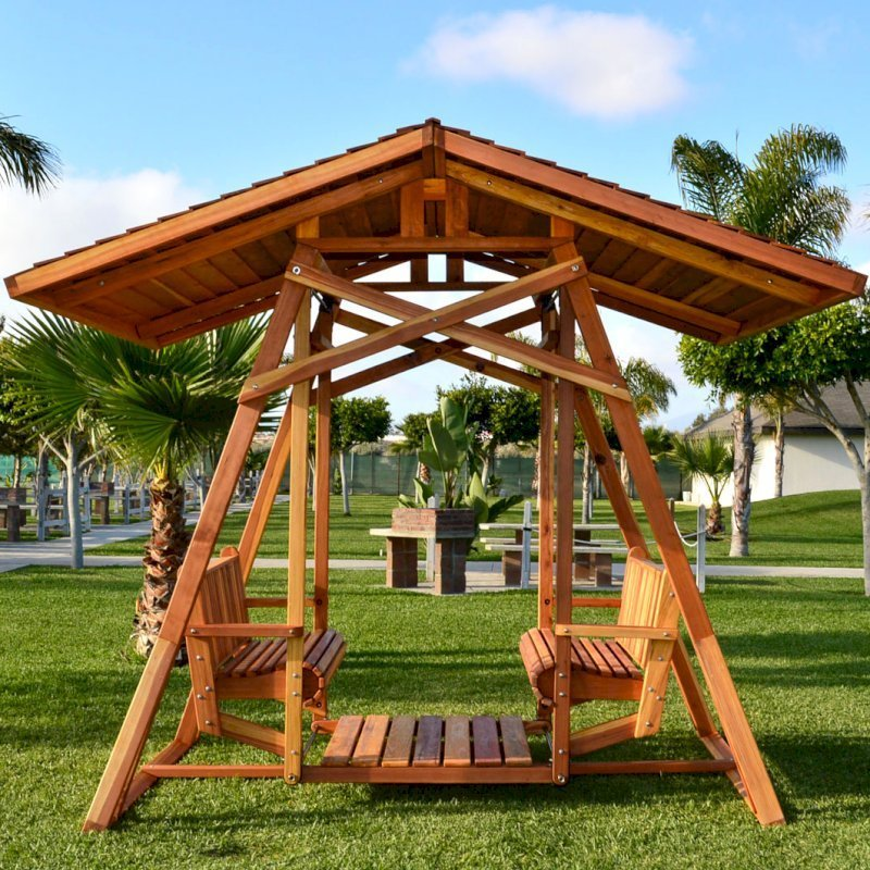 Dustin's Face to Face Glider (Options: California Redwood, XXW Roof, Without Beverage Armrest, No Kid's Platform, No Engraving, Transparent Premium Sealant).