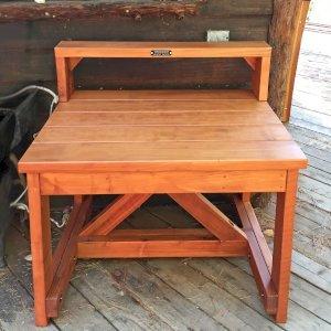 "Custom Eli's Potting Bench (Options: Mature Redwood, 42"" L x 29"" W x 30"" H, No Casters, One Shelf, Transparent Premium Sealant)."