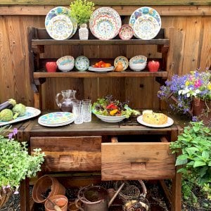 Eli's Potting Bench (Options: Large Size, Redwood, No Casters, 2 Shelves, Both Sides Fold Down, Copper Inset for Right Drawer, No Engraving, Removable Slatted Lid Over Right Drawer, Transparent Premium Sealant). Photo Courtesy of M. Cooke of Westchester, IL.