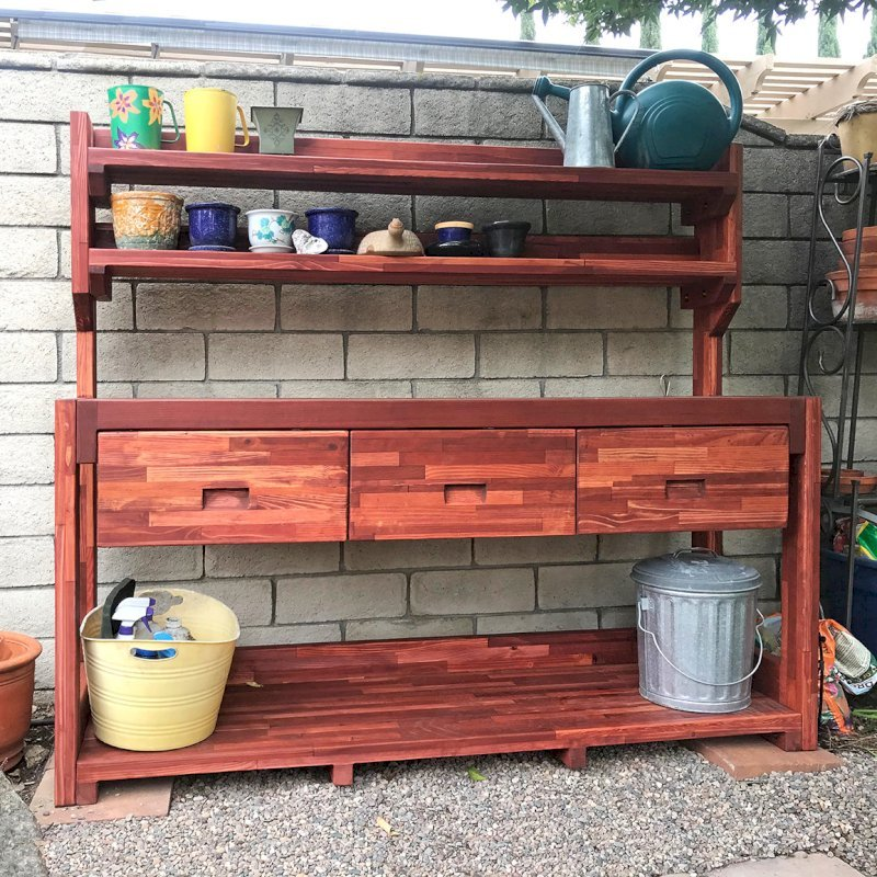 Eli's Potting Bench (Options: XXL Size, Mosaic Eco-Wood, No Casters, No Fold Down Sides, No Cooper Inset, With Two Shelves, Removable Lids Over Right Drawer, Transparent Premium Sealant). Photo Courtesy of W. Courey of Rancho Cucamonga, California.