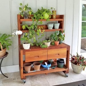 Eli's Potting Bench (Options: Large Size, Mature Redwood, With Casters, 2 Shelves, No Fold Down Sides, Copper Inset for Left Drawer, No Engraving, Removable Slatted Lid Over Left Drawer, Transparent Premium Sealant). Photo Courtesy of William Thomas Skywark of Saint Simons Island, Georgia.