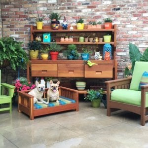 Eli's Potting Bench (Options: XXL Size, Old-Growth Redwood, With Casters, Two Shelves, No Fold Down Sides, No Cooper Inset, No Engraving, Removable Lid Over 2 Drawers, Transparent Premium Sealant). Photo Courtesy of Cheryl Williams of Canton, MI.