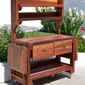 Eli's Potting Bench (Options: Large Size, Redwood, Casters, 2 Shelves, Both Sides Fold Down, Copper Insets for Both Drawers, No Engraving, Removable Lid for Right Drawer, Transparent Premium Sealant).