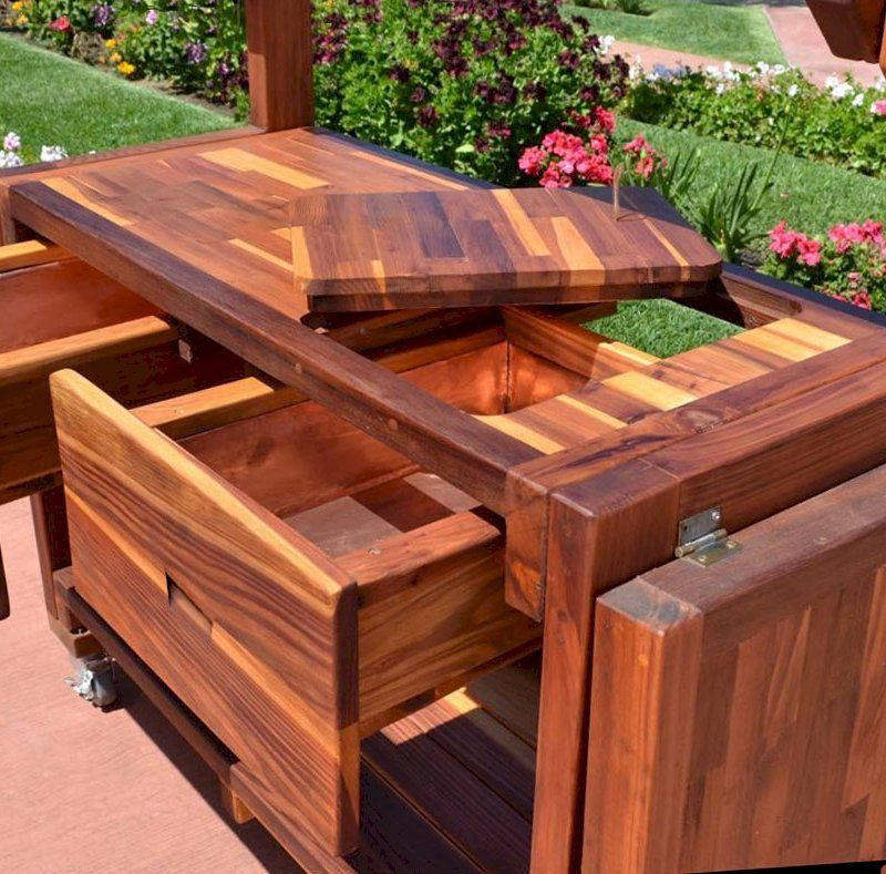Eli's Potting Bench (Options: Large Size, California Redwood, Casters, 2 Shelves, Both Sides Fold Down, Copper Insets for Both Drawers, No Engraving, Removable Lid for Right Drawer, Transparent Premium Sealant).