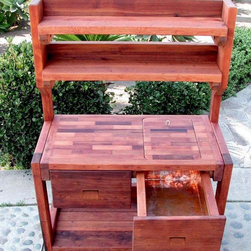 Eli's Potting Bench (Options: Standard Size, Old-Growth Redwood, Casters, 2 Shelves, Copper Inset for Right Drawer, No Engraving, Removable Lid on Right Side, Transparent Premium Sealant).  Photo shows tabletop lid removed.