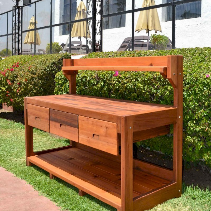 Eli's Potting Bench (Options: XXL Size, Old-Growth Redwood, No Casters, One Shelf, No Fold Down Sides, No Cooper Inset, No Engraving, No Removable Lid, Transparent Premium Sealant).