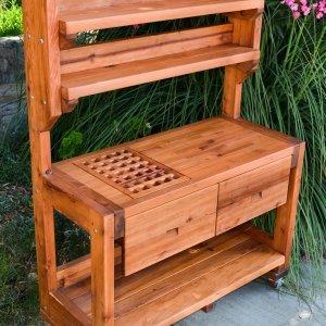Eli's Potting Bench (Options: Large Size, Mature Redwood, Casters, Two Shelves, No Fold Down Sides, No Copper Inset, No Engraving, Removable Slatted Lid for Left Drawer, Transparent Premium Sealant).