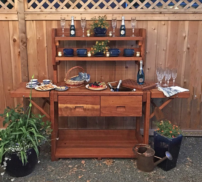 Eli's Potting Bench (Options: Large Size, California Redwood, No Casters, 2 Shelves, Both Sides Fold Down, Copper Inset for Right Drawer, No Engraving, Removable Slatted Lid Over Right Drawer, Transparent Premium Sealant). Photo Courtesy of M. Cooke of Westchester, IL.