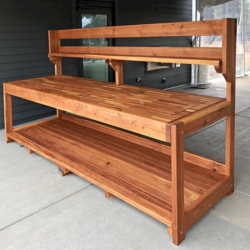 "Custom Eli's Potting Bench (Options: 10' L x 36"" W [Custom size], California Redwood, No Casters, One Shelf, No Drawers, No Fold Down Sides, No Engraving, No Lids, Transparent Premium Sealant). Photo Courtesy of B. Shanks of Salem, OR."