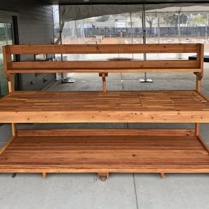"Custom Eli's Potting Bench (Options: 10' L x 36"" W [Custom size], Redwood, No Casters, One Shelf, No Drawers, No Fold Down Sides, No Engraving, No Lids, Transparent Premium Sealant). Photo Courtesy of B. Shanks of Salem, OR."
