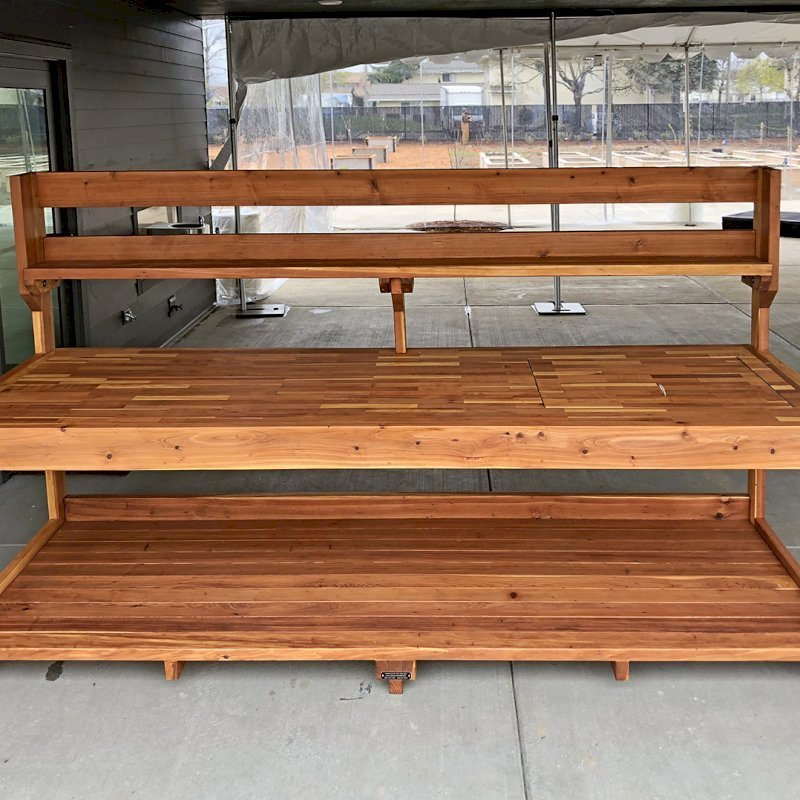 Super Redwood Potting Bench Custom Outdoor Wood Bench Pabps2019 Chair Design Images Pabps2019Com