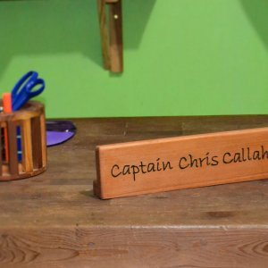 Engraved Name Plate (Options: Old-Growth Redwood, Desktop, Transparent Premium Sealant).