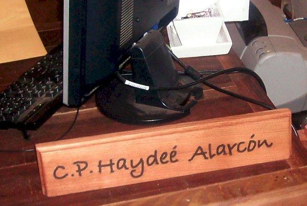 "Engraved Name Plate (Options: Old-Growth Redwood, Desktop, 15""L, Transparent Premium Sealant)."