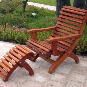 Ensenada Easy Chair with Ottoman - Mature Redwood with Transparent Premium Sealant