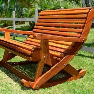 Ensenada Rocking Bench (options: 4ft L, Redwood, No cushion, No Engraving, Transparent Premium Sealant).