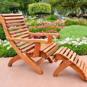 Ensenada Easychair (Options: Standard Size, Mature Redwood, No Cushion, Ottoman, Transparent Premium Sealant)