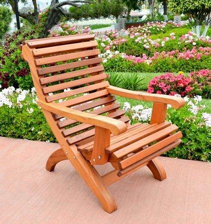 Ensenada Easychair (Options: Standard Size, Mature Redwood, No Cushion, No Ottoman, Transparent Premium Sealant)